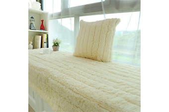 (70x150cm, Creamy-white) - CAMAL Plush Thickened Non-Slip Bay Window Pad/Windowsill Mat/Window Bench Mat (70x150cm, Creamy-White)