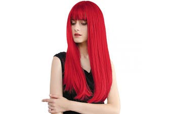 Long Red Wig, 25''Straight Cosplay Wigs Ultra Soft Heat Resistant Natural Looking Wig for Party Costume