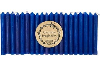 (Blue) - Alternative Imagination Set of 20 Blue, Unscented, 10cm Tall Chime Candles (Altar, Spell)
