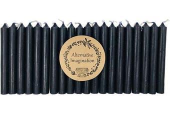 (Black) - Alternative Imagination Set of 20 Black, Unscented, 10cm Tall Chime Candles (Altar, Spell)