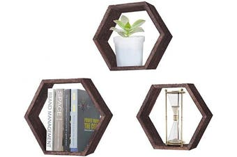 (Rustic Brown) - Rustic Wall Mounted Hexagonal Floating Shelves – Set of 3 – Large, Medium and Small – Screws and Anchors Included - Farmhouse Shelves for Bedroom, Living Room and More – Honeycomb Wall Décor - Torched