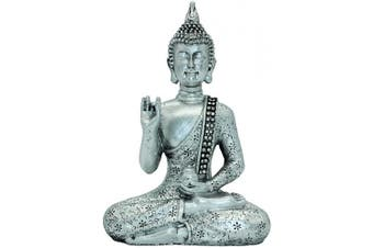 18cm (H) Thai Buddha Meditating Peace Harmony Statue Silver Resin Home Decor Buddha BS111