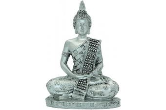 18cm (H) Silver Thai Buddha Meditating Peace Harmony Statue Resin Craft Home Decor BS112