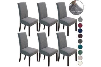 (6, Light Grey) - NORTHERN BROTHERS Dining Chair Covers Stretch Chair Covers Parsons Chair Slipcover Chair Covers for Dining Room Set of 6,Light Grey