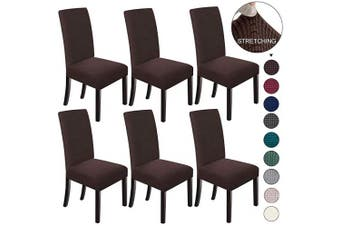(6, Chololate) - NORTHERN BROTHERS Dining Chair Covers Stretch Chair Covers Parsons Chair Slipcover Chair Covers for Dining Room Set of 6,Chocolate