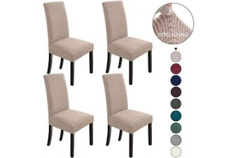 (4, Khaki) - NORTHERN BROTHERS Dining Room Chair Slipcovers Dining Chair Covers Parsons Chair Slipcover Stretch Chair Covers for Dining Room Set of 4,Khaki