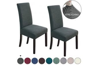 (2, Dark Grey) - NORTHERN BROTHERS Dining Chair Covers Stretch Chair Covers Parsons Chair Slipcover Chair Covers for Dining Room Set of 2,Dark Grey