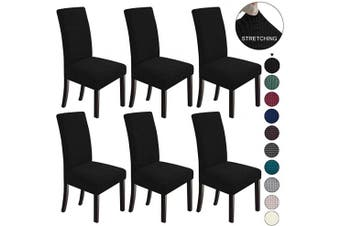 (6, Black) - NORTHERN BROTHERS Dining Chair Covers Stretch Chair Covers Parsons Chair Slipcover Chair Covers for Dining Room Set of 6,Black