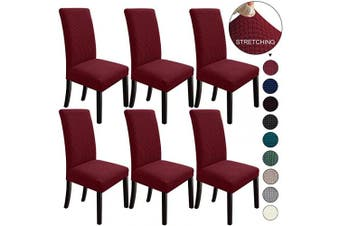 (6, Wine Red) - NORTHERN BROTHERS Dining Chair Covers Dining Room Chair Slipcovers Parsons Chair Slipcover Chair Covers for Dining Room Set of 6,Wine Red