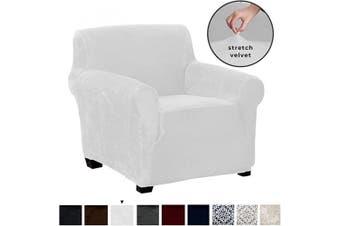 (Chair, White) - Great Bay Home Velvet Plush Stretch Arm Chair Slipcover. Velvet Chair Furniture Protector, Soft Anti-Slip, High Stretch (Chair, White)