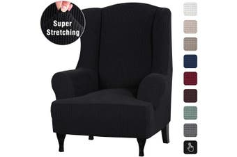 (Black) - Stretch Wingback Chair Covers Wing Chair Slipcover Wing Chair Covers Furniture Covers for Wingback Chairs, Furniture Cover Feature Soft Thick Small Checked Jacquard Fabric Washable, Black
