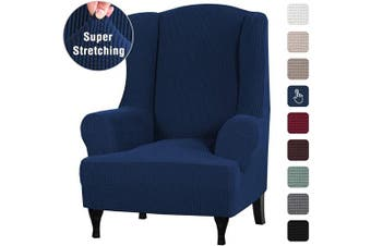 (Navy) - Stretch Wingback Chair Covers Wing Chair Slipcover Wing Chair Covers Furniture Covers for Wingback Chairs, Furniture Cover Feature Soft Thick Small Checked Jacquard Fabric Washable, Navy