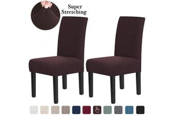 (2, Brown) - Chair Covers for Dining Room Stretch Dining Chair Covers Chair Cushions for Dining Chairs Super Fit Dining Chair Protector Removable Washable Chair Covers Set of 2, Brown