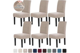 (6, Sand) - Chair Covers for Dining Room Stretch Dining Chair Covers Chair Cushions for Dining Chairs Super Fit Dining Chair Protector Removable Washable Chair Covers Set of 6, Sand