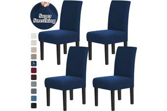 (4, Navy) - Chair Covers for Dining Room Stretch Dining Chair Covers Chair Cushions for Dining Chairs Super Fit Dining Chair Protector Removable Washable Chair Covers Set of 4, Navy