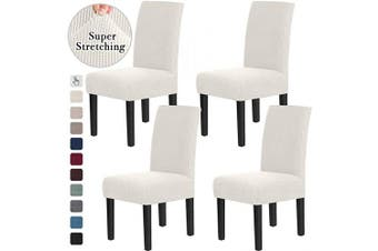(4, Off White) - Chair Covers for Dining Room Stretch Dining Chair Covers Chair Cushions for Dining Chairs Super Fit Dining Chair Protector Removable Washable Chair Covers Set of 4, Off White
