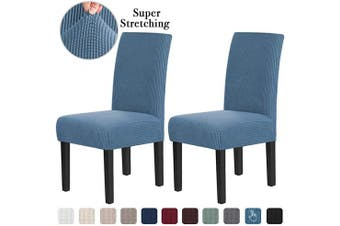 (2, Dusty Blue) - Chair Covers for Dining Room Stretch Dining Chair Covers Chair Cushions for Dining Chairs Super Fit Dining Chair Protector Removable Washable Chair Covers Set of 2, Dusty Blue