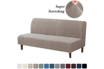 (Taupe) - Stretch Armless Futon Covers Full Queen Futon Couch Covers Slipcover Futon Sofa Cover Futon Bed Cover Furniture Protector Covers with Elastic Bottom, Soft Thick Jacquard Washable, Taupe