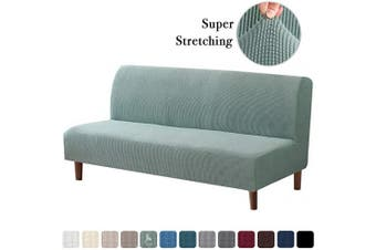 (Sage) - Stretch Armless Futon Covers Full Queen Futon Couch Covers Slipcover Futon Sofa Cover Futon Bed Cover Furniture Protector Covers with Elastic Bottom, Soft Thick Jacquard Washable, Sage