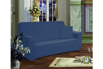 (Love Seat, Navy Blue) - Elegant Comfort Furniture Jersey Stretch Slip-Cover, Loveseat Navy Blue
