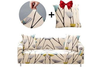 (Sofa-4 seats, Dandelion) - Bikuer Printed Spandex Sofa Cover Stretch Couch Cover Sofa Slipcovers for 4 Cushion Couch with 2 Free Pillow Cover(Sofa-4 Seats, Dandelion)