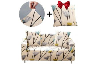 (Love seat, Dandelion) - Bikuer Printed Spandex Sofa Cover Stretch Couch Cover Sofa Slipcovers for 2 Cushion Couch with 2 Free Pillow Cover(Love seat, Dandelion)