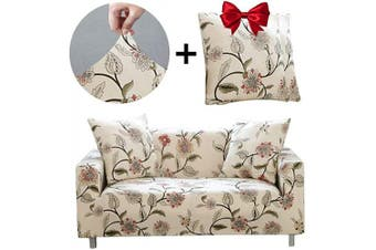 (Love seat, Blooming Flower) - Bikuer Printed Spandex Sofa Cover Stretch Couch Cover Sofa Slipcovers for 2 Cushion Couch with 2 Free Pillow Cover(Love seat, Blooming Flower)