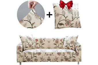 (Sofa-4 seats, Blooming Flower) - Bikuer Printed Spandex Sofa Cover Stretch Couch Cover Sofa Slipcovers for 4 Cushion Couch with 2 Free Pillow Cover (Sofa-4 Seats, Blooming Flower)