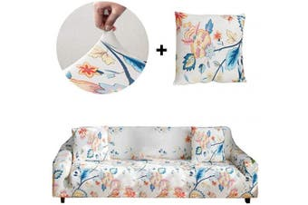 (Sofa-4 seats, Flower World) - Bikuer Printed Sofa Cover XL XLarge Stretch Couch Cover Water Repellant Sofa Slipcovers for 4 Seater Cushion Couch Arm Chair Furniture Cover 4 Seats
