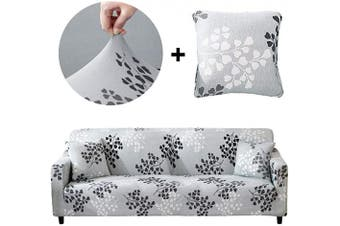 (Sofa-4 seats, Silver Leaves) - Bikuer Printed Sofa Cover XL XLarge Stretch Couch Cover Water Repellant Sofa Slipcovers for 4 Seater Cushion Couch Arm Chair Furniture Cover 4 Seats