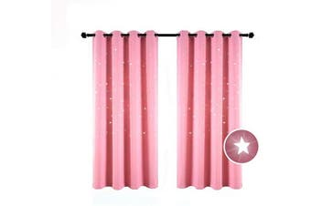 (130cm W x 160cm L, Baby Pink) - BUZIO 2 Panels Twinkle Star Kids Room Curtains with 2 Tiebacks, Thermal Insulated Blackout Curtains with Punched Out Stars for Space Themed Nursery and Bedroom (130cm x 160cm , Baby Pink)