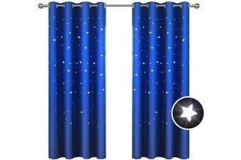 (130cm W x 160cm L, Royal Blue) - BUZIO 2 Panels Twinkle Star Kids Room Curtains with 2 Tiebacks, Thermal Insulated Blackout Curtains with Punched Out Stars, Drapes for Space Themed Nursery and Bedroom (130cm x 160cm , Royal Blue)