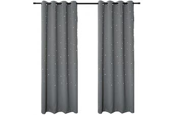 (130cm W x 210cm L, Space Grey) - BUZIO 2 Panels Twinkle Star Curtains with 2 Tiebacks, Thermal Insulated Blackout Curtains with Punched Out Stars for Space Themed Nursery and Bedroom (130cm x 210cm , Space Grey