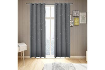 (130cm W x 160cm L, Space Grey) - BUZIO 2 Panels Twinkle Star Kids Room Curtains with 2 Tiebacks, Thermal Insulated Blackout Curtains with Punched Out Stars for Space Themed Nursery and Bedroom (130cm x 160cm , Space Grey)