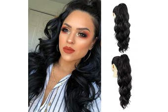 AQINBEL Drawstring Ponytail Extensions 60cm Body Wave Clip in Drawstring Pony Tail Synthetic Long Loose Wavy Ponytail Hairpieces for Women(1B#)