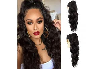 AQINBEL Drawstring Ponytail Extensions 60cm Body Wave Clip in Drawstring Pony Tail Synthetic Long Loose Wavy Ponytail Hairpieces for Women(2#)