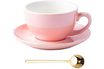 (Fluorescent Pink) - Coffeezone Fluorescent Series 300ml Ceramic Latte Art Cappuccino Barista Cup Saucer with Golden Stainless Steel Spoon (Fluorescent Pink)