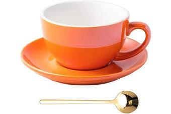 (Fluorescent Orange) - Coffeezone Fluorescent Series 300ml Ceramic Latte Art Cappuccino Barista Cup Saucer with Golden Stainless Steel Spoon (Fluorescent Orange)