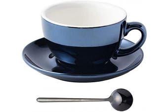 (Bluish Black) - Coffeezone Fluorescent Series 300ml Ceramic Latte Art Cappuccino Barista Cup Saucer with Black Stainless Steel Spoon (Bluish Black)