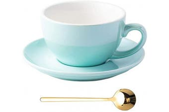 (Turquoise Blue) - Coffeezone Fluorescent Series 300ml Ceramic Latte Art Cappuccino Barista Cup Saucer with Golden Stainless Steel Spoon (Turquoise Blue)