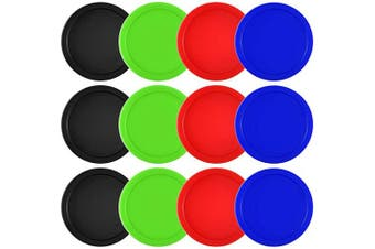 (Red, Black, Blue, Green) - Coopay 12 Pieces Home Air Hockey Pucks 6.4cm Heavy Replacement Pucks for Game Tables Equipment Accessories, 13 Grammes