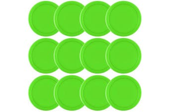 (Green) - Coopay 12 Pieces Home Air Hockey Pucks 6.4cm Heavy Replacement Pucks for Game Tables Equipment Accessories, 13 Grammes