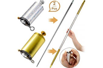2 Pieces Metal Appearing Cane Magic Wand Magic Cane for Magician Use Only for Adult Stage Magic Trick Magic Gimmick Illusion Silk to Wand, 43.30 Inch/ 110 cm (Silver, Golden Silver)
