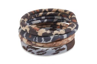 Bamboo Trading Company Boho Hair Bands Hair Ties - Set of 8 Animal Print Hairwraps - Leopard, Cheetah, Snake Print