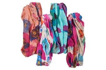 "(Pink Poppy) - Bamboo Trading Company Boho Wide Headbands - Set of 4 Poppy Floral Print Headwraps - 16"" L x 9"" W - Peach, Pink, Blue, Aqua Tones"