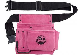 """GRAINTEX SS2081 5 Pocket Nail & Tool Pouch Pink Colour Suede Leather with 2"""" Webbing Belt for Constructors, Electricians, Plumbers, Handymen"""