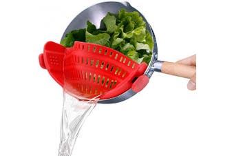 (Red) - Clip-On Strain Strainer,kitchen Food Strainers Heat Resistant Silicone for Spaghetti,Pasta,Ground Beef Grease,Colander and Sieve Snaps On Bowls,Fits Most Pots and Bowls Red