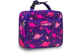 (X-Large, Pink Dinosaurs) - LONECONE Kids' Insulated Fabric Lunch Box - Fun Patterns for Boys and Girls, Pink Dinosaurs, X-Large