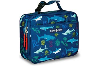 (Standard, Shark Bite) - LONECONE Kids' Insulated Fabric Lunch Box - Fun Patterns for Boys and Girls, Shark Attack, Standard