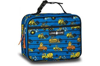 (Standard, Construction Monsters) - LONECONE Kids' Insulated Fabric Lunch Box - Fun Patterns for Boys and Girls, Construction Monsters, Standard